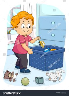 Illustration of a Kid Boy Toddler Picking Up His Toy to Store in the Container. Household Organization, Household Chores, Toddler Boys, Kids Boys, Grande Section, Life Skills, Learn English, Teaching Kids, Preschool