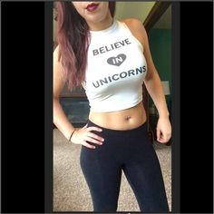 ONLY 1 LEFT!!Believe in Unicorns Crop Top Believe in Unicorns crop top 93% rayon, 7% spandex. trades, price is FIRM. PLEASE NOTE: these are in JUNIOR sizes not standard. April Spirit Other