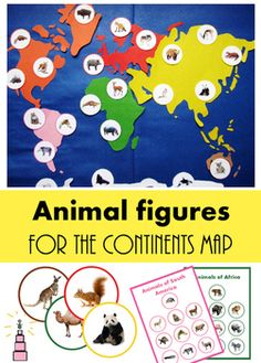 ~` Animal figures for the continents map `~This set of animals cards is perfect for working with the continent maps. The photos of animals are realistic and beautiful. There are 3 sizes of cards available. You can choose what cards suit your continent map best.There is a version of cards with color-coding and without it.