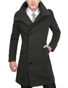 Amazon.com: Doublju Mens Long Half Coat: Clothing
