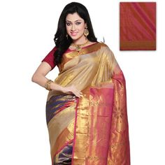 Beige and Pink Shot Tone Pure Kanchipuram Silk Saree with Blouse