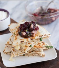 Leftover Turkey Jack Quesadillas with Cranberry Salsa @Tracey's Culinary Adventures I Tracey Wilhelmsen