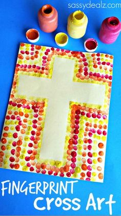 Fingerprint Cross Art Project for Kids #Easter craft | http://www.sassydealz.com/2014/03/easy-fingerprint-cross-activity-kids.html