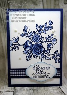 Stampin up, petal palette, blue and white
