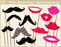 DIY - Photo Booth Props - Printables - Moustaches - Lips - Set of 12 Images - Perfect for Parties, Weddings, Birthdays