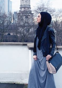 Leather jackets with Maxis > #hijab.. I always how to wear maxis but this is awesome wanna try it