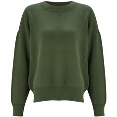 Kin by John Lewis Compact Cotton Jumper, Green (110 SEK) ❤ liked on Polyvore featuring tops, sweaters, jumpers, oversized boyfriend sweater, green long sleeve top, green jumper, long sleeve jumper and cotton sweaters