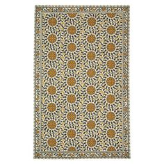 Hand-hooked of pure virgin wool, this classically-inspired rug features a chic medallion vine motif.  Product: RugCo...