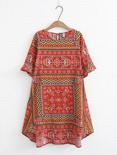 e71465644c Vintage Printed Flare Sleeve O-Neck Blouse For Women can cover your body  well