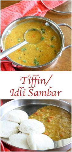 Tiffin Sambar, a simple and delicious sambar made from moong dal. It's ideal side dish for all south indian tiffin items like idli, dosa and pongal. Indian Food Recipes, Gourmet Recipes, Cooking Recipes, Ethnic Recipes, Kerala Recipes, Breakfast Soup, Breakfast Recipes, Indian Breakfast, Vegetarian Breakfast