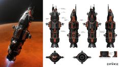 Behind the scenes: the concept art of The Expanse - ArtStation Magazine The Expanse Ships, The Expanse Tv, Concept Ships, Concept Art, Ship Sketch, Starship Concept, Sci Fi Spaceships, Spaceship Design, Spaceship Art