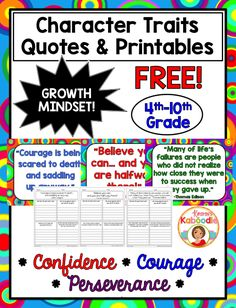 FREE Character Traits Quotes and Printables that are perfect for growth mindset…