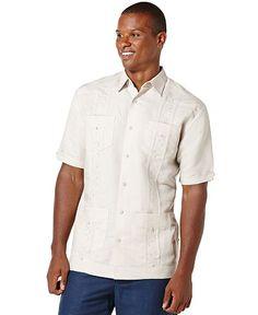 Cubavera Short-Sleeve Embroidered Guayabera Shirt - Casual Button-Down Shirts - Men - Macy's