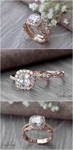 Set of 2, Brilliant Cushion Cut Engagement Ring with Art Deco band in 14k Rose Gold, Stacking, Bridal Set, Wedding Ring Band Set by Sapheena #goldweddingrings #goldrings # ringsgold