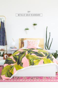 This DIY Metallic Gold Headboard is pretty impressive too – think of all the savings you will have your teen bedroom makeover. Who doesn't love the blend of palm leaves, pink and gold? Inspiring Teen to Tween Bedroom Ideas on Frugal Coupon Living.