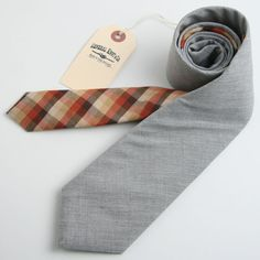 Fine Heather Gray Shirting & 1940s Tonal Check Two Tone Necktie - vintage ties handmade in the United States
