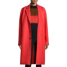 Rag & Bone Blankett Three-Button Coat (3.965 RON) ❤ liked on Polyvore featuring outerwear, coats, fiery red, long sleeve coat, woolen coat, oversized coat, red wool coat and wool coat