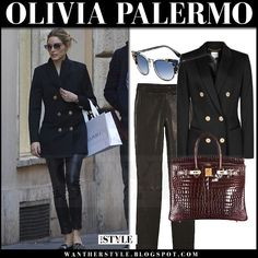 Olivia Palermo in black gold button blazer and black leather pants