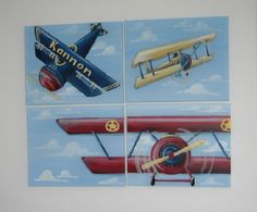 Just ordered these for Reed's room.... Jennifer(the painter) is tweaking the colors a bit to match the bedding. I'm so excited to have these in his vintage airplane room!