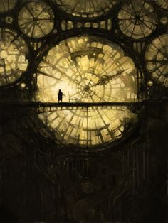 Fantastic steampunk clock-like system of windows. Would also work in a fantasy setting.