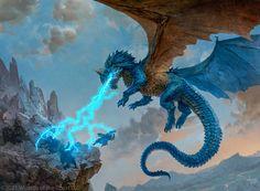 Image Painting, Painting & Drawing, Mtg Art, Cool Dragons, Dragon Artwork, Blue Dragon, Wizards Of The Coast, Dark Fantasy Art, Magic The Gathering