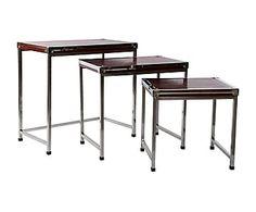 Set de 3 mesas auxiliares en acero inoxidable y polipiel - rojo