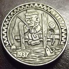 by Shane Hunter Hobo Nickel, Coin Art, Metal Art, Precious Metals, Buffalo, Coins, Fishing, Small Stuff, Random Things