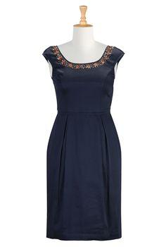 Summer Sheath Dresses, Ladylike Retro Dresses Shop Womens Designer Clothing | Fashionable Women's Cocktail Dress | | eShakti.com