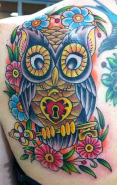 I like the idea of the owl wearing the necklace, but holding the key. Plus I love owls. Def something to consider. Up Tattoos, Life Tattoos, Body Art Tattoos, Sleeve Tattoos, Tattoos For Women, Tatoos, Owl Tattoo Design, Tattoo Designs, Tattoo Owl
