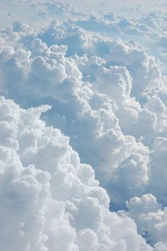 sky, blue, white, fluffy, clouds, stacked, nature