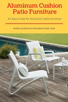 Aluminum Cushion Patio Furniture. Cushions also are treated to be mold and mildew resistant so they can survive the elements when left outside. Aluminum cushion terrace furnishings has some distinctive style parts to supply likewise. Instead of a group of easy chairs, aluminum cushion patio chairs can be swivel chairs or rocking chairs that allow for maximum mobility as well as comfort. An aluminum cart may be ordered to go with any aluminum cushion terrace furnishings set.#Aluminum #Cushion Easy Chairs, Patio Chairs, Outdoor Chairs, Outdoor Furniture, Outdoor Decor, Aluminum Patio, Rocking Chairs, Mold And Mildew, Swivel Chair