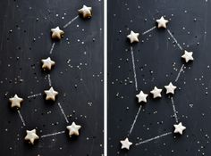 """This could also be pulled off with a dark blue tablecloth, cupcakes with a white star in the middle of dark blue frosting (because black frosting doesn't always taste very good), and white ribbon on the table to """"connect"""" the constellation dots!"""
