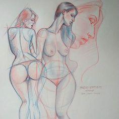 366 estudos, n° 009 Não posto fora do quadrado, porque o desafio mesmo é pensar dentro da caixa e não fora dela. #body #drawing #sketch #redandblue #jadermattos #366estudos #desenho #dibujo #illustration #art #instaartist #instadraw #drawinlesson #artoftheday #woman #female #traces #curves