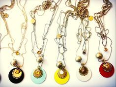 Different matt enamels for Planet 3 rounds necklace. Swarovski, Turquoise, Enamels, Woman Fashion, Different Colors, Planets, Jewels, Cream, Yellow