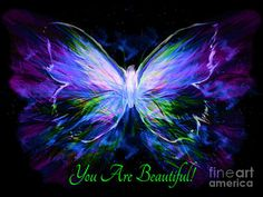 Purple Butterfly Prophetic Art Painting - You Are Beautiful by Pam Herrick