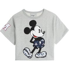 Paul & Joe Sister Mickey Mouse Cotton-Jersey Sweat Top ($135) ❤ liked on Polyvore featuring tops, shirts, crop tops, t-shirts, mickey mouse shirt, crop top, cotton jersey, mickey mouse crop top and grey top
