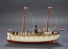 """20"""" German painted tin steamship with wonderful details, by Carette & Cie, the French-born German toy maker. Circa 1912. Model 622/3."""