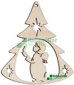 Holzmotiv: Engelchen mit Kerze, tannenbaumförmig gerahmt Pappelsperrholz L90xB79xH3 mm