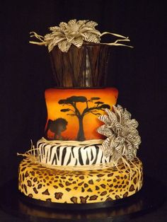 hymn to africa - cake by cindy African Wedding Cakes, Round Wedding Cakes, Themed Wedding Cakes, Themed Cakes, African Wedding Theme, African Theme, African Weddings, Cake Wedding, African Style