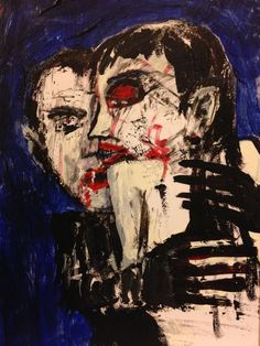 """""""Love At First Bite"""" original low brow, pop art ,ACEO jack larson 3.5""""x2.5"""" #Abstract"""
