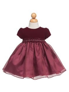 Burgundy Lovely Velveteen Bodice Baby Dress (size S and XL only)