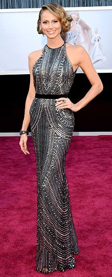 Stacy Keibler turned heads wearing a Naeem Khan dress, Giuseppe Zanotti heels and Lorraine Schwartz jewels at the 2013 Oscars