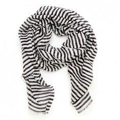 Women's Black Cream Viscose Stripe Scarf by Sole Society