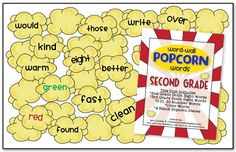 Finally, second grade popcorn words! Need to print these out and put them on my LA focus wall.