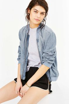 BLQ BASIQ Cut-In Muscle Tank Top - Urban Outfitters Sporty Outfits, Cool Outfits, Fashion Outfits, Denim Bomber Jacket, Bomber Jackets, Grunge, Vogue, Muscle Tank Tops, Sweaters And Jeans