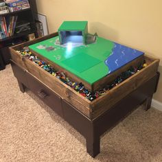 I converted my son's train table into a lEGO table.
