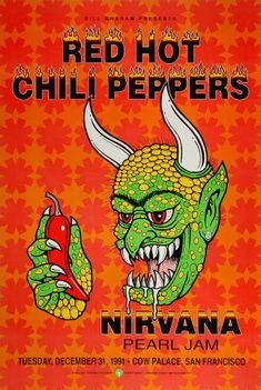 Red Hot Chili Peppers, Nirvana, Pearl Jam Concert Poster, Cow Palace (San Francisco, CA) Dec Artwork by Harry Rossit. Rock Posters, Hippie Posters, Arte Punch, Poster Sport, Gig Poster, Poster Wall, Rock And Roll, Concert Rock, Dream Concert