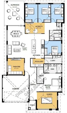 Looking for a 5 bedroom floor plan? Well this one might suit! You've got 4 bedrooms close together on the back of the home which share a bathroom and an activity room. I'd be looking at making that bathroom bigger.