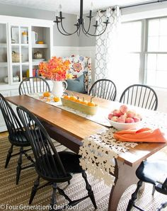 Fall Home Tour dining room decorating with pumpkins, apples, orange blue colors accessories from HomeGoods Four Generations One Roof Fall Home Decor, Autumn Home, Diy Home Decor, Room Decor, Dining Area, Kitchen Dining, Dining Rooms, Dining Chairs, Dining Room Inspiration