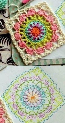 Transcendent Crochet a Solid Granny Square Ideas. Inconceivable Crochet a Solid Granny Square Ideas. Crochet Squares, Crochet Motifs, Granny Square Crochet Pattern, Crochet Blocks, Crochet Diagram, Crochet Chart, Knit Or Crochet, Crochet Patterns, Crochet Granny